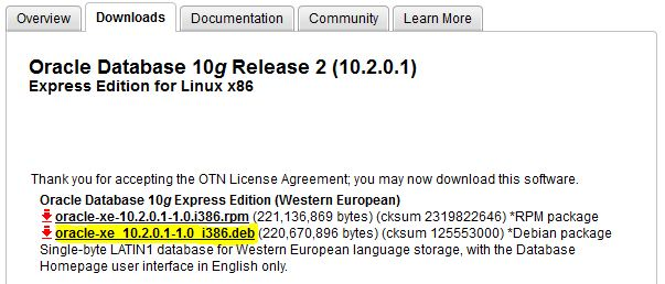 Oracle 10g express edition for linux.