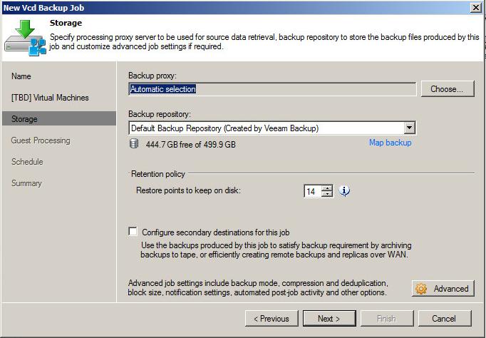 Typical Veeam Backup settings