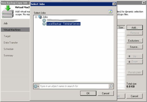 """Next select Add on the right and then pick """"From Job"""". Select your backup job that you just created in step 1"""