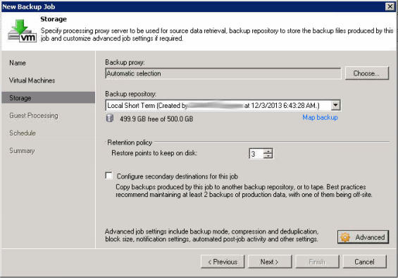 Now select the local repository and number of restore points to keep