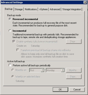 Before clicking next, go into the Advanced section and select Reverse Incremental. This will ensure that you only have one large file on your local storage.