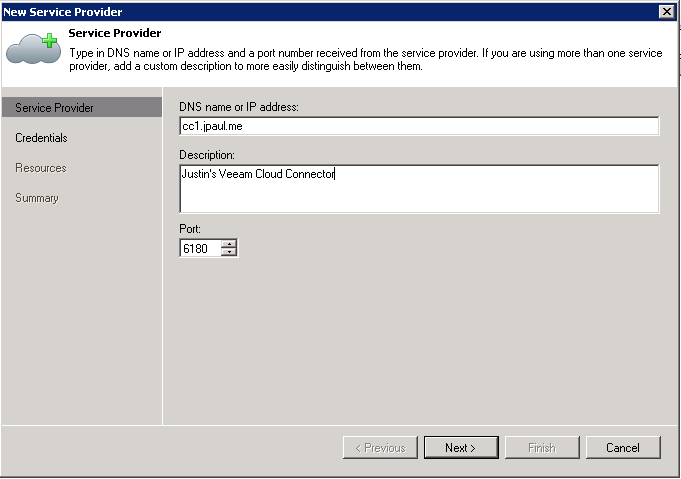Step 1: Create a new Service Provider object from the backup infrastructure area.