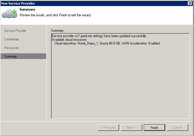Step 5: Click Finish, your Service provider and Cloud Repository is now ready to use
