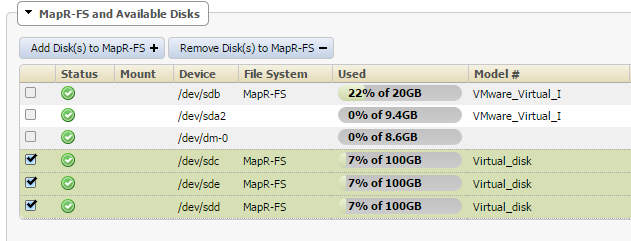 I added 3 100GB hard drives to my MAPR-FS